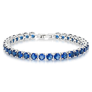 "5mm Round Blue Sapphire Cubic Zirconia CZ Tennis Bracelet White Gold Plated 7.5"""