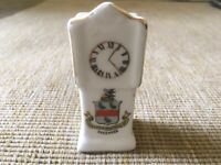Vintage Crested China Skegness Grandfather Clock Collectable Ornament