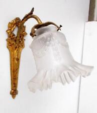 Vintage French Bronze Wall Light with Original Glass Shade
