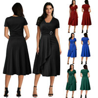 Women Plus Size Summer Sexy Asymmetric Hem V-Neck Ruffled Party Evening Dress