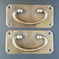 "2 Antique Vintage Style Solid Brass Box Trunk Chest Door Handles 4 1/4""w.  #P11"