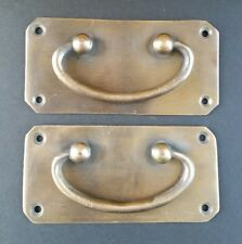 "2 Antique Vintage Style Solid Brass Box Trunk Chest Door Handles 4 1/4""w.  #P11"