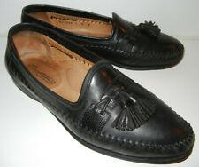 Santoni Men's Black Leather Tassel Loafers Slip On Moccasins Shoes Size 8 M