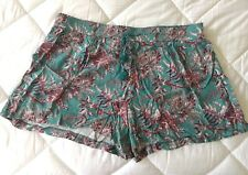 LOFT Shorts Sz XL drawstring casual lightweight Floral Leaf beach voile blue