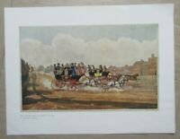 Vintage / antique colour print ,engraving - The Oxford and opposition coaches