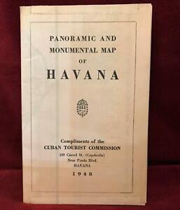 Havana Cuba Panoramic and Monumental Map of Havana Tourist Commission 1948