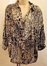 Gloria Vanderbilt Womens Blouse Shirt Size L Animal Print Convertible 3/4 Sleeve