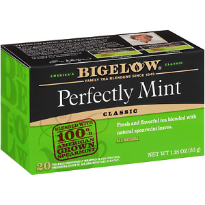 Bigelow Perfectly Mint Formerly Plantation Mint Tea Bags 20 count Pack of 6, 120