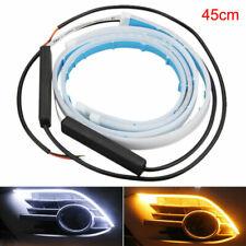 2x Flexible 45cm LED Headlight Slim Strip Lights DRL Dynamic Turn Signal Lamps