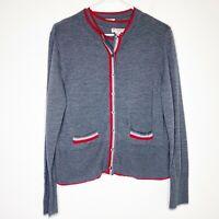 Brooks Brothers Women's Twinset Shell & Cardigan Sweater Merino Wool Gray XL