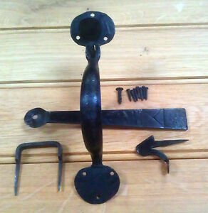 SUFFOLK DOOR LATCH HANDLE BLACKSMITH HAND FORGED & BEESWAX DIPPED