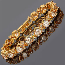Rhinestone Glass Round Cut Champagne 18K Yellow Gold Plated Bracelet