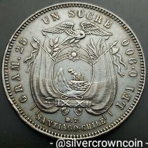 SCC Ecuador Un Sucre 1888 D.T. SANTIAGO-CHILE. KM#53.2. Silver Dollar Crown coin