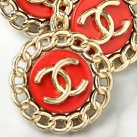 Chanel Buttons STAMPED 4pc CC Gold & Red 20mm Vintage Style 4 Buttons AUTH!!!