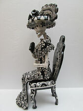 """CATRINA SITTING on CHAIR xl large      mexican folk art day of the dead 26"""" tall"""