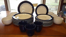 Home Brand White Swirl Blue Band Dinnerware Set Plates Bowls Cups 25 pieces EUC & Banded Porcelain Dinner Service Sets | eBay