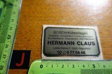 Alter Aufkleber BOSCH Kühlanlagen HERMANN CLAUS Hamburg Stapelfeld
