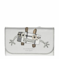 Burberry Women's Creature Applique Tartan Leather Wallet with Chain Silver