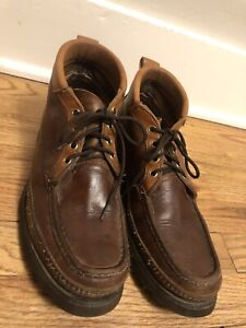 W C RUSSELL MOCCASIN CO Chukka Ankle Boots Brown Short SZ 9.5 Vibram Soles