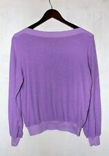 new women's wildfox pullover wide neck baggy jumper solid barbie purple s. small