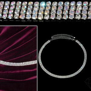 Women' Girls Silver Rhinestone Waist Belt 4 Row Diamante Chain Fashion Accessory
