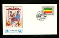 UN United Nations FDC NY #482 UNICEF Cachet Flag Series Ethiopia 1986