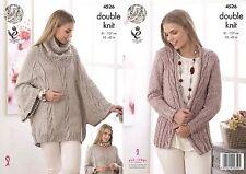 "King Cole DK  Knitting Pattern 4526 :Cape,Cowl Collar  & Cardigan  32""-42"""