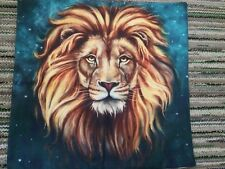 Lion King of the Jungle Linen Square Pillow Cushion Cover.