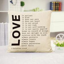 Love Quotes Cotton Linen Throw Pillow Cover Waist Cushion Case Home Room Decor