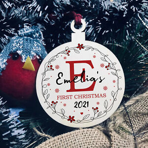 Baby 1st First Christmas Bauble Personalised Tree Decoration Baby Girl Gift