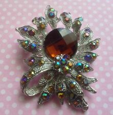 Mixed Metals Amber Costume Brooches & Pins