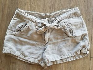 Lucky Brand Shorts Size 10 Women linen Live In Love Drawstring Taupe color cute