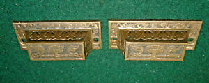 PAIR of BRASS EASTLAKE BIN PULL / DRAWER PULL - CAST BRASS, CIRCA 1875   (16456)