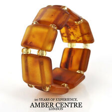 Matte Deep Orange GERMAN BALTIC AMBER Handmade Elastic Ring RB015 RRP £35!!!