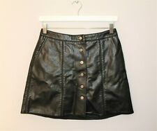 WITCHERY Brand Black Faux Leather Button Front Skirt Size 10 LIKE NEW #AN02