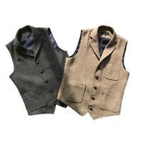 Retro Mens Tweed Business Formal Slim Fit Wool Blend Vest Waistcoat Coat M-4XL