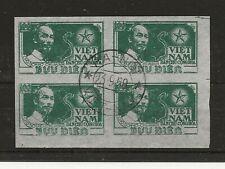 More details for north vietnam 1951 100d ho chi minh sg.n4 imperfrate used block of 4