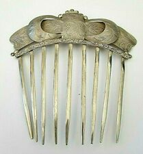 Antique 1800's Coin Silver Folk Art Hair Comb Engraved Beautiful  EXCELLENT