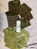 "Clover Meadow Charm Pack Jan Patek Moda Fabrics Browns And Green 34 5"" Squares"