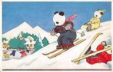 Dressed Panda Bear's Skiing Medici Society Antique Postcard (J26951)