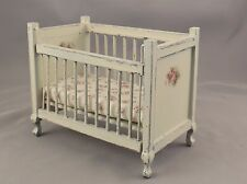 Dollhouse Miniature Shabby Chic Wooden White Crib Floral Decals & Fabric 1:12