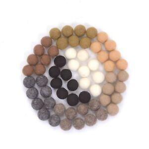 Glaciart One Wool Felt Balls 2cm - 60pcs (Earth Tone Colors)