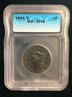 1824 / 2 Coronet Matron Liberty Head Large Cent 24 Over 2 ICG EF 40