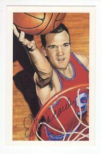 Ed Macauley - Basketball Hall of Fame - Autographed Ron Lewis Art Postcard