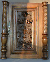 French Antique Carved Oak Wood Architectural Door Panel - Two Columns Pillars 1