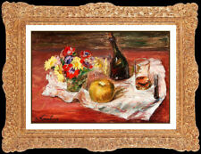 ANDRE HAMBOURG Original OIL PAINTING on CANVAS Floral Still Life Authentic ART