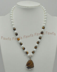 Wholesale 8mm Round White Shell Pearl &Sorts Of Gems Drop Pendant Necklaces 18''