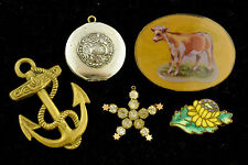 Lot of Antique / Vtg Costume Jewelry Airplane Locket Anchor Victorian Pin ~ 987