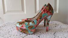 K Image Size 39 Satin Floral Platform Pump Shoes Heels BNIB