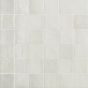 ZELLIGE GESSO 10 x 10cm GLOSSY WALL TILES IN PLASTER WHITE - PACK OF 1 SQ.METER